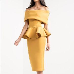 Dresses & Skirts - Scuba mustard off shoulder dress